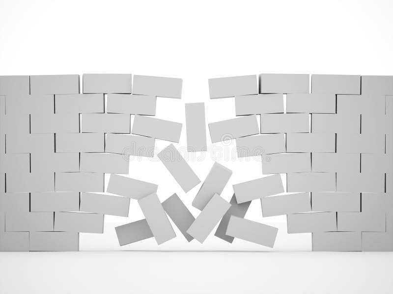 Silberne Demolierungsbacksteinmauer vektor abbildung
