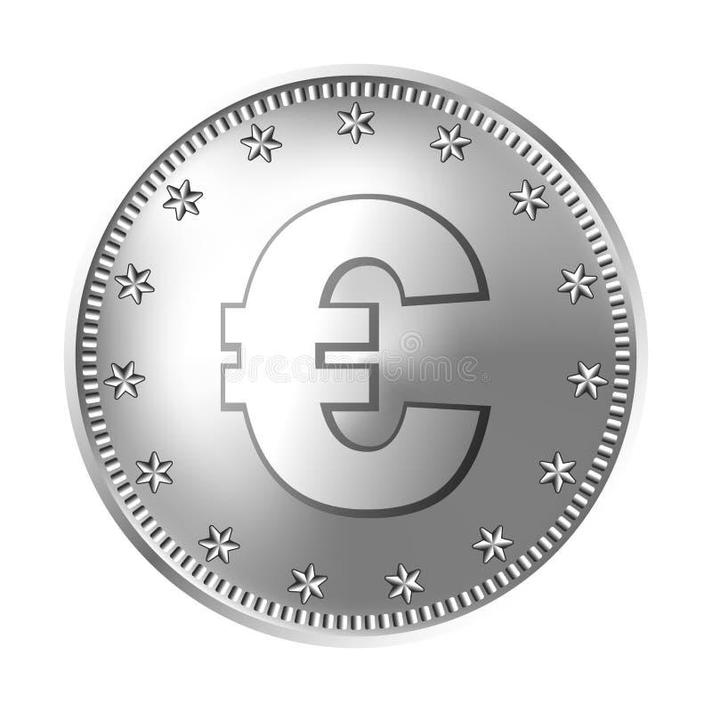 Silberne Euromünze, Geld stock abbildung
