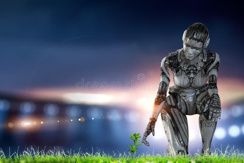 Silberne Frau des Cyborg, die auf einem Knie und L?cheln sitzt stockfoto
