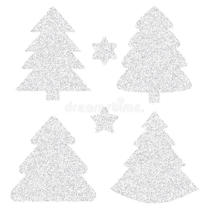 Silberne Funkelnvektorikone des Weihnachtsbaums lokalisiert auf backgro vektor abbildung