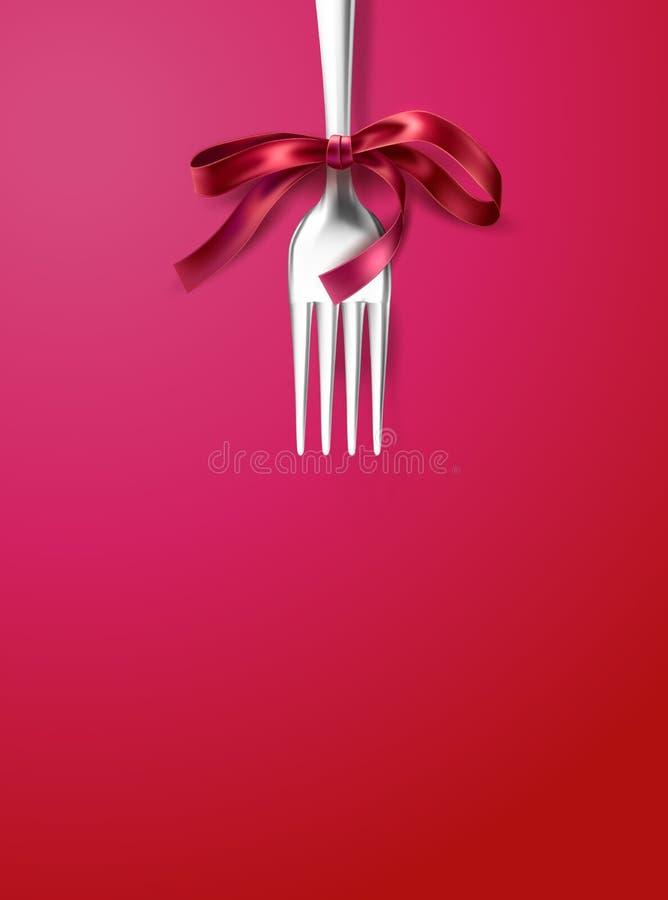 Silberne Gabel des Vektors mit festlichem Abendessen des Bandbogens lizenzfreie abbildung