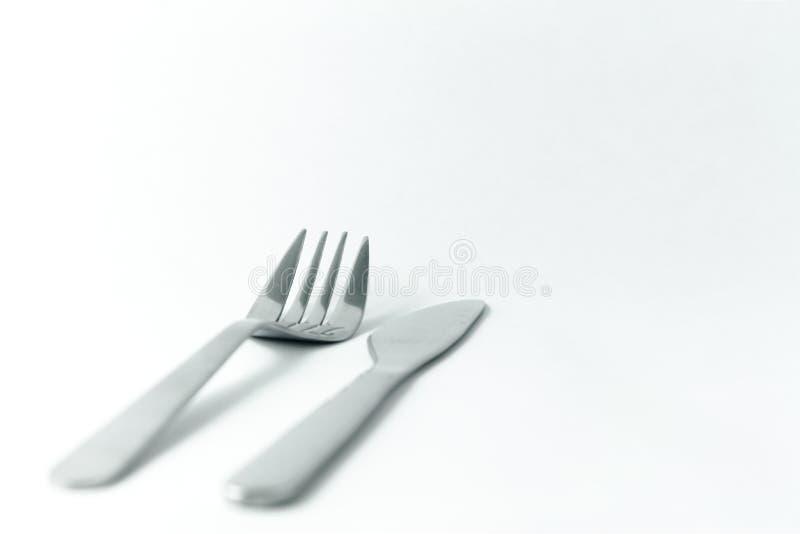 Silberne Gabel und Messer stockfotografie