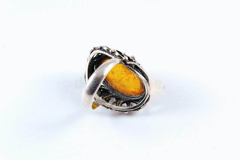 Silberne gelbe Amber Ring stockbilder