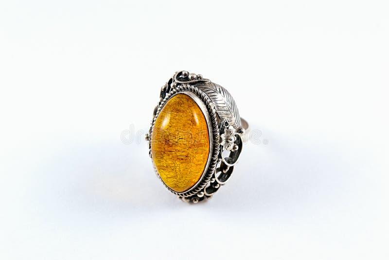 Silberne gelbe Amber Ring lizenzfreies stockbild