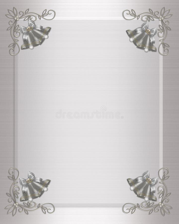 Silberne Glocken der Hochzeitseinladung stock abbildung