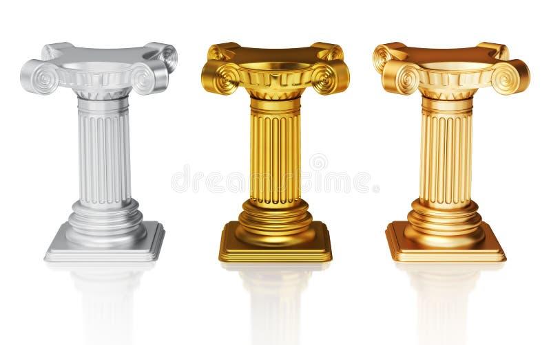 Silberne Gold- und Bronzenbedienpulte vektor abbildung