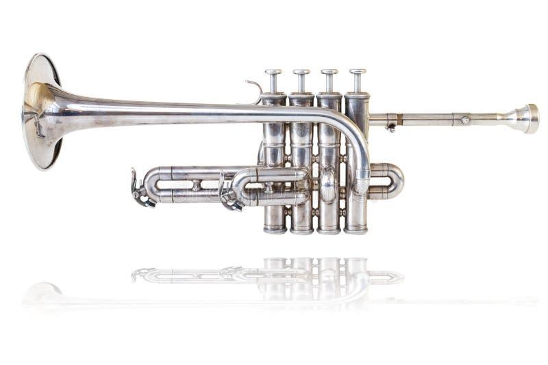 Silberne goldene kleine Trompete stockbild