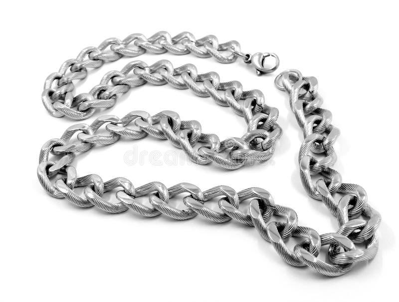 Silberne Halskette - Edelstahl stockfoto