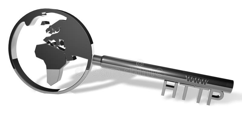 Silberne HTTP-Taste lizenzfreie abbildung