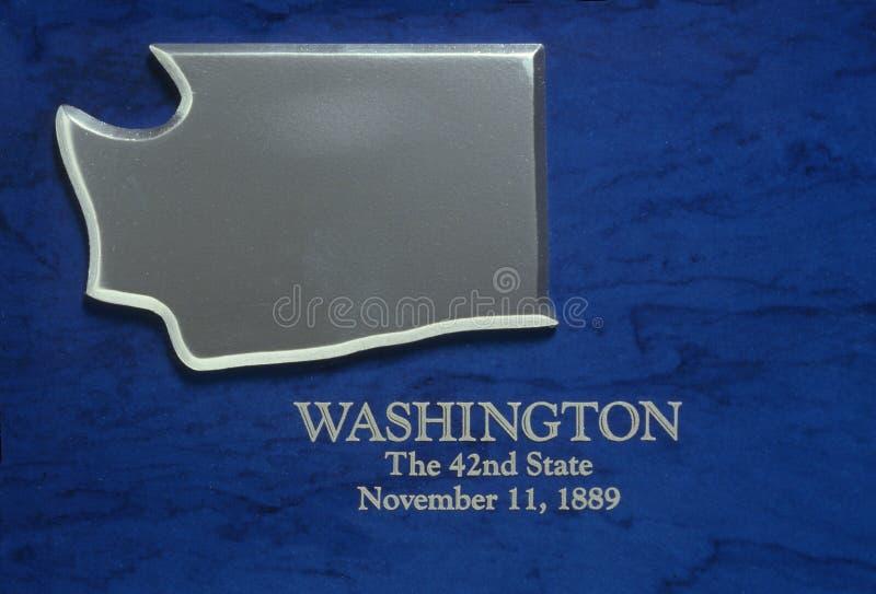 Silberne Karte von Washington lizenzfreies stockfoto