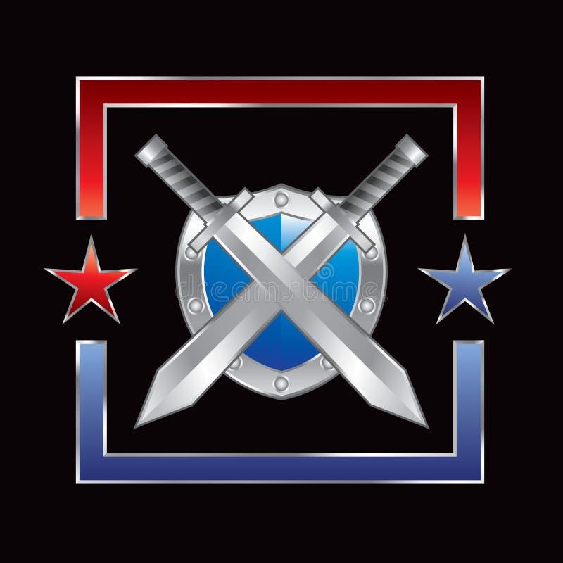 Silberne Klingen und Schild im roten und blauen Stern lizenzfreie abbildung