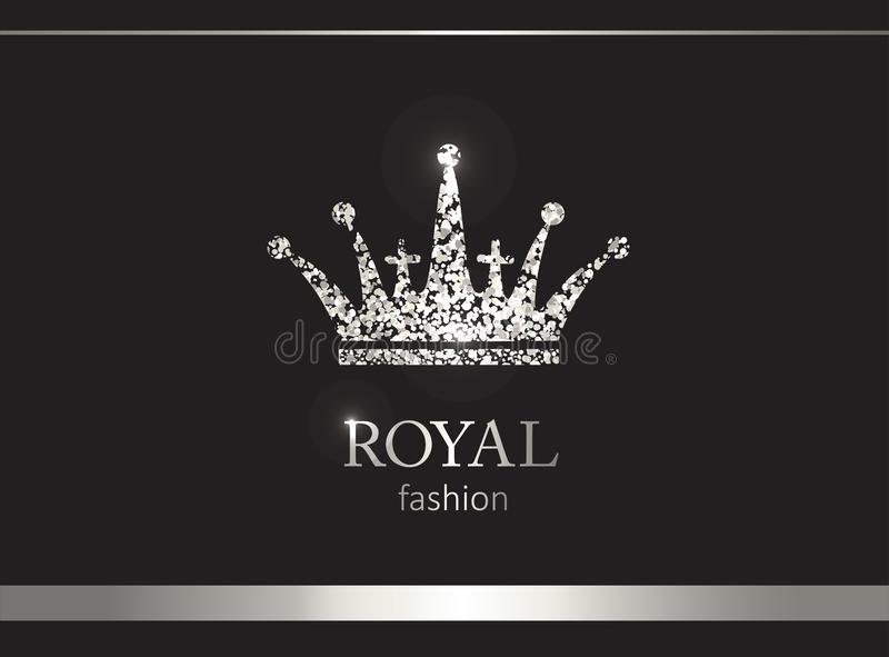 Silberne Krone Luxusaufkleber, Emblem oder Verpackung Sonnenkollektor und Zeichen für alternative Energie lizenzfreie abbildung