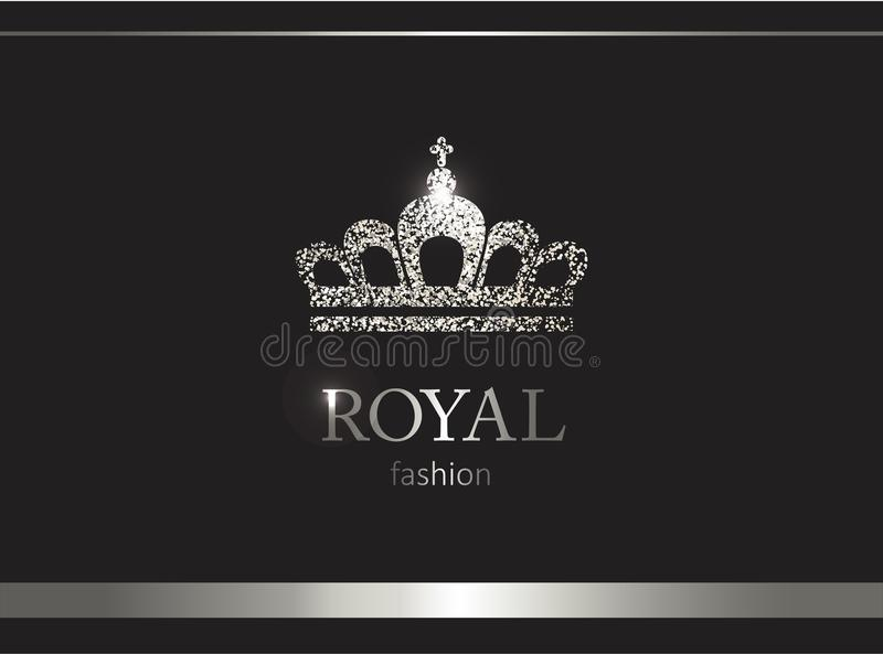Silberne Krone Luxusaufkleber, Emblem oder Verpackung Sonnenkollektor und Zeichen für alternative Energie stock abbildung
