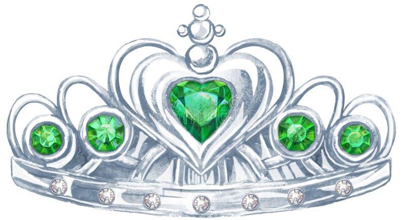 Silberne Kronprinzessin des Aquarells mit den Edelsteinen Smaragd und fianit vektor abbildung