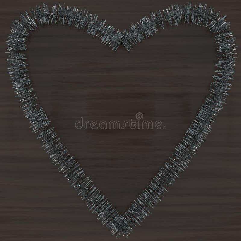 Silberne Lamettaherzdekoration auf dunklem Holz lizenzfreie stockbilder