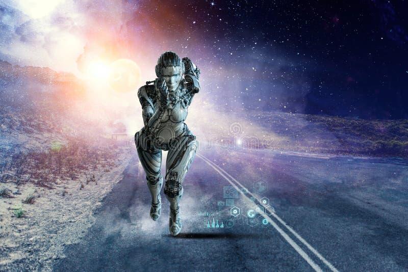 Silberne laufende Frau des Cyborg Gemischte Medien stockbilder