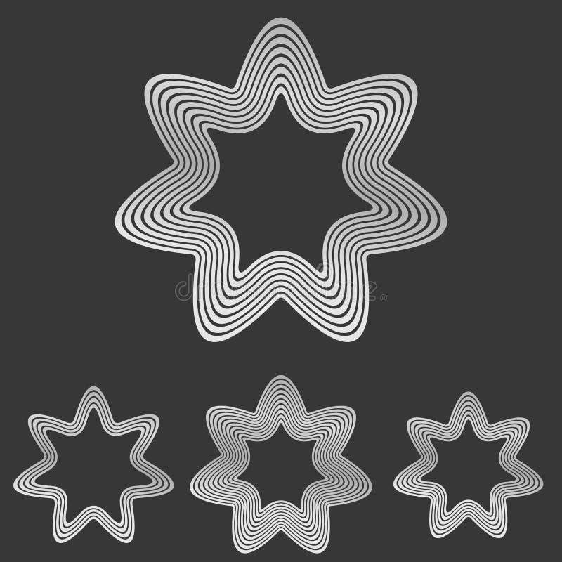 Silberne Linie Sternlogo-Designsatz vektor abbildung