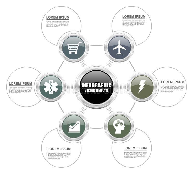 Silberne metallische infographic Schablone für Darstellung, Diagramm, Diagramm, Diagramm, Ausbildung, Geschäft, Transport, Techno stock abbildung