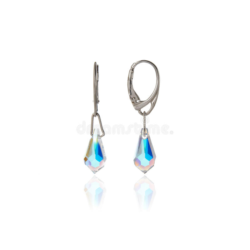 Silberne Ohrringe lizenzfreie stockfotografie