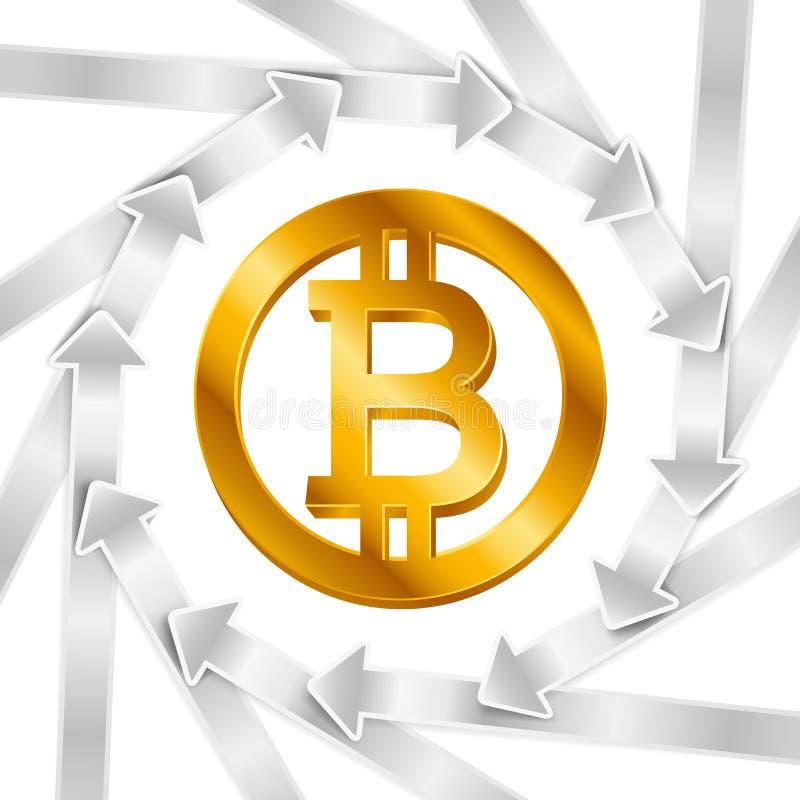 Silberne Pfeile mit Bitcoin unterzeichnen, cryptocurrency Zyklus-Kreiskonzept Geschäftsschleifenfahne vektor abbildung