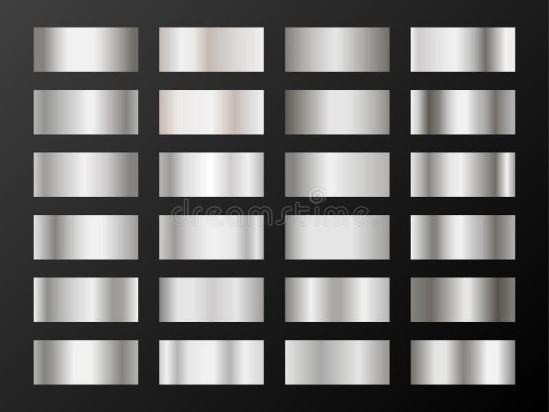 Silberne Platinsteigungen Metallisches Folienbeschaffenheitssilber, Stahl, Chromsteigungsmuster vektor abbildung