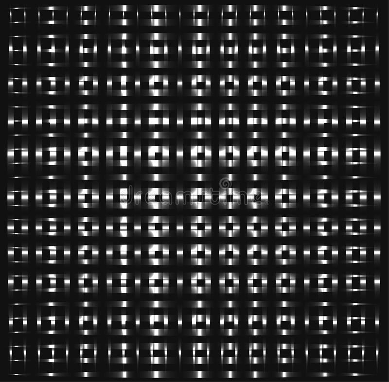 Silberne Quadrate, kreuzende abstrakte Rohre, asphaltieren Stücke, Schatten des grauen Hintergrundes stock abbildung