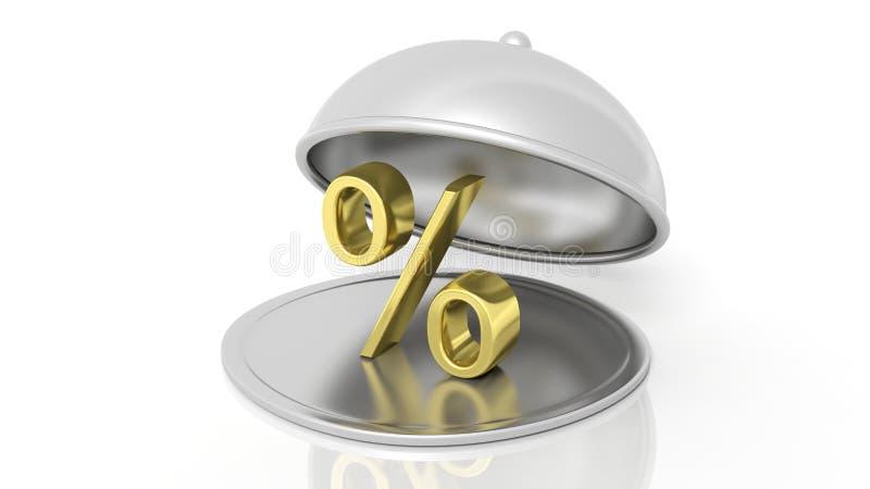 Silberne Restaurantglasglocke mit Goldprozentsatzsymbol vektor abbildung