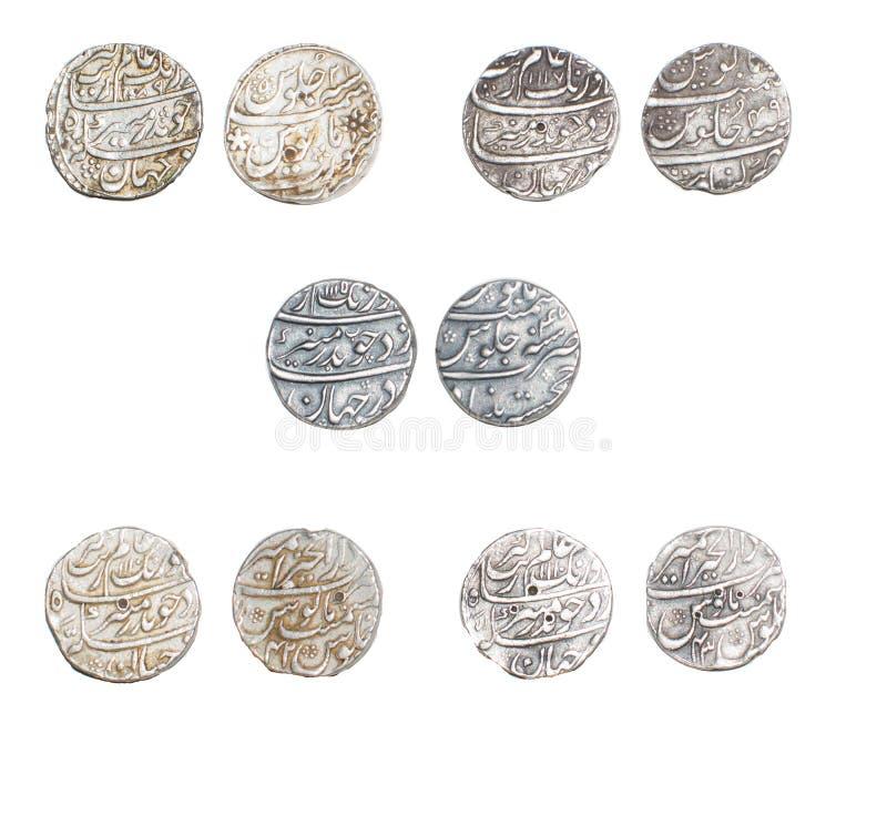 Silberne Rupien-Münzen Mughal-Kaiser Aurangzeb Alamgir lizenzfreie stockbilder