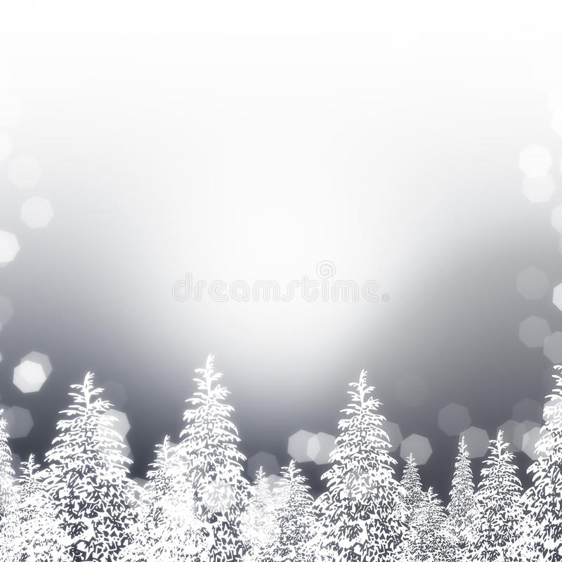 Silberne Snowy-Bäume stock abbildung