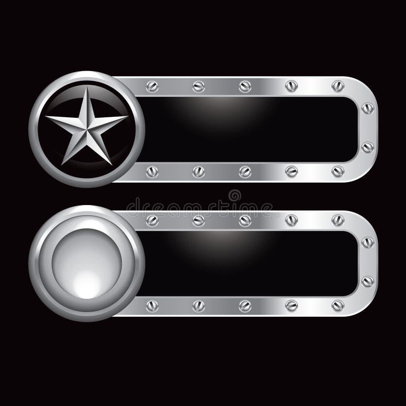 Silberne Sternmetallfahne lizenzfreie abbildung