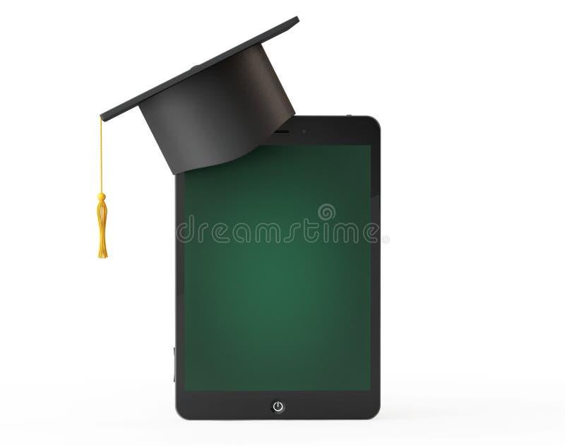 silberne Taste und Laptop-Computer Staffelungs-akademische Kappe über Tablet PS als Querstation lizenzfreie stockbilder
