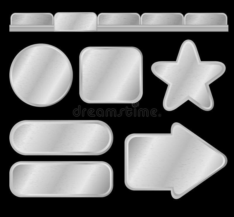 Silberne Tasten und Menü vektor abbildung