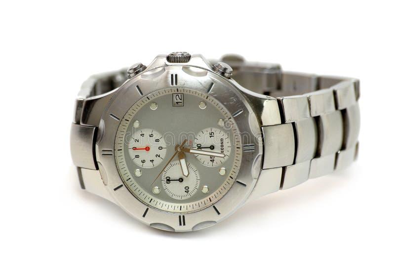 Silberne Uhr stockfotos