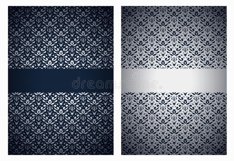 Silberne und dunkelblaue Grüße vektor abbildung