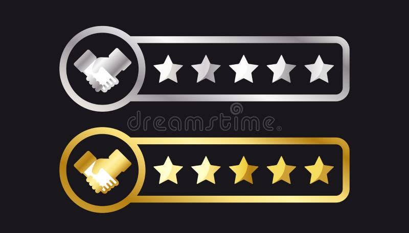 Silberne und goldene Produktbewertungs-Sterne und Händedruck - Kunden-Bericht-Konzept - Vektor-Illustration - lokalisiert auf sch vektor abbildung