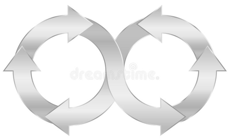 Silberne Unendlichkeits-Symbol-Stromkreis-Pfeile vektor abbildung