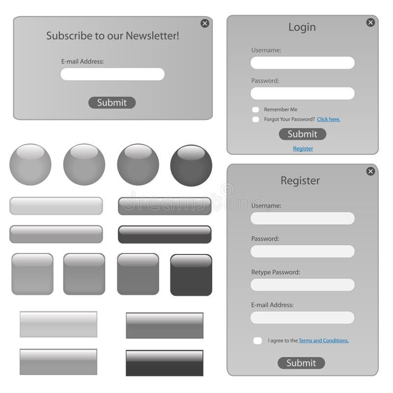 Silberne Web-Schablone lizenzfreie abbildung
