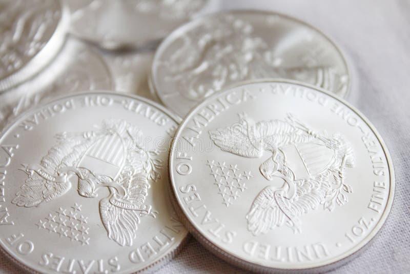 Silberne Weißkopfseeadlermünze stockfotos