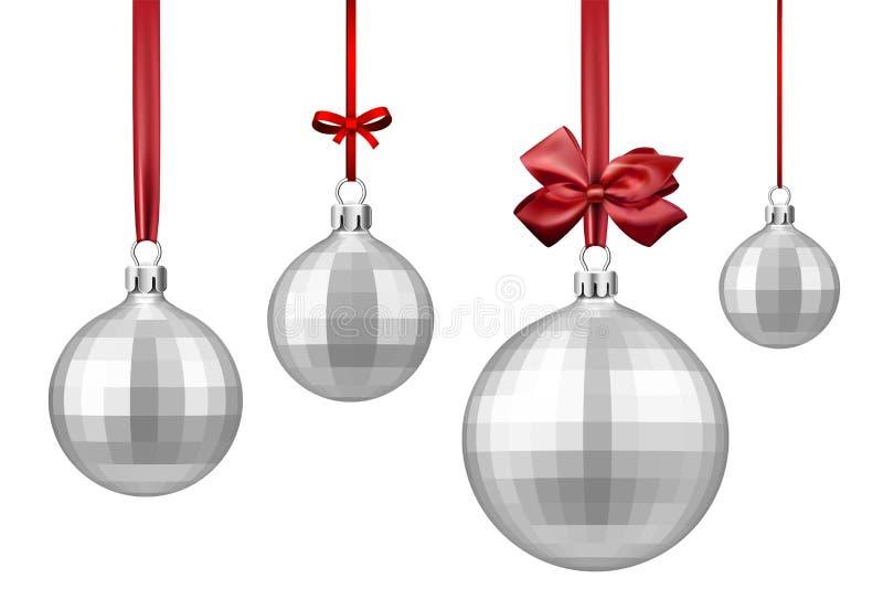 Silberne Weihnachtsbälle mit rotem Bogen vektor abbildung