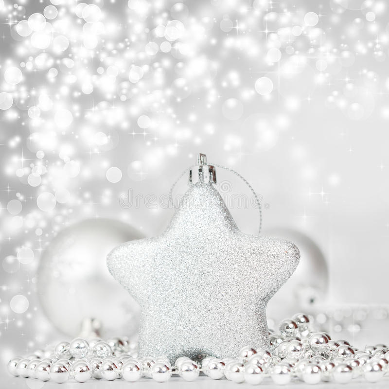 Download Silberne Weihnachtsdekoration Stockbild - Bild von weihnachten, magie: 47100235
