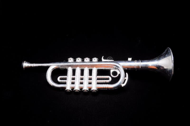 Silberne Weinlese Toy Trumpet lizenzfreies stockfoto