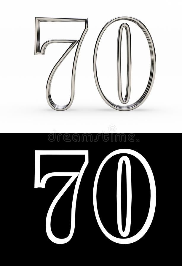 Silberne Zahl siebzig Jahre stock abbildung