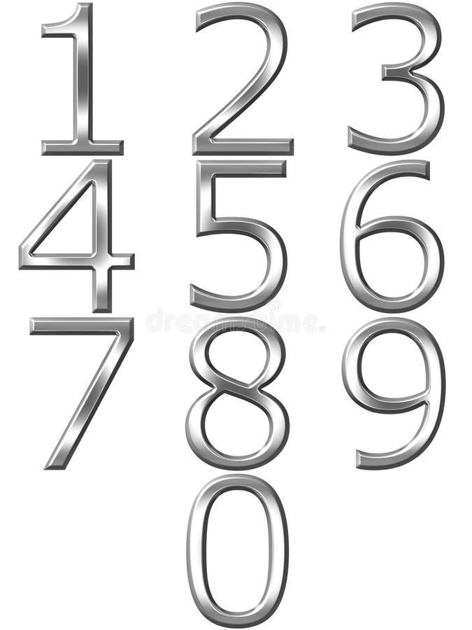 silberne Zahlen 3D stock abbildung