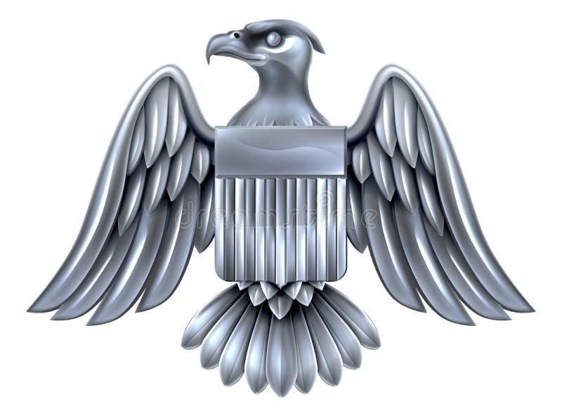 Silberner Amerikaner Eagle Shield stock abbildung