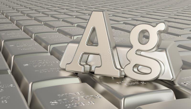 Silberner Barrenhintergrund mit AG-Symbol Wiedergabe 3d lizenzfreie abbildung