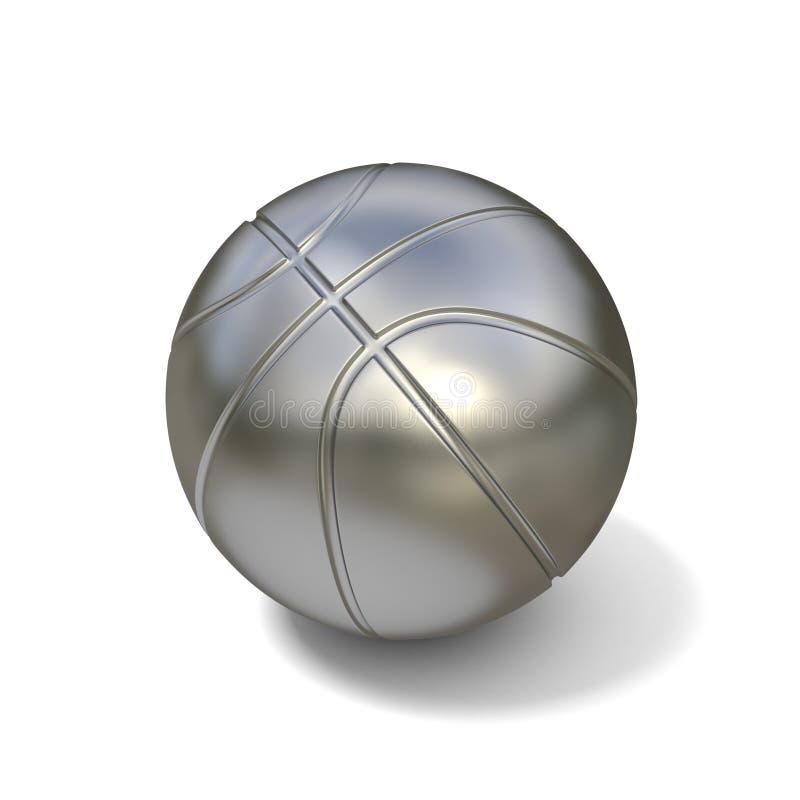 Silberner Basketballball lokalisiert auf weißem Hintergrund 3d lizenzfreie abbildung
