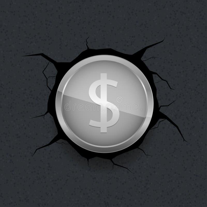 Silberner Dollar auf gebrochenem Hintergrund vektor abbildung