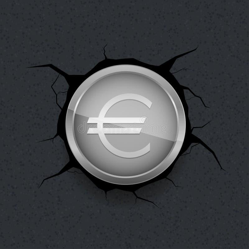 Silberner Euro auf gebrochenem Hintergrund lizenzfreie abbildung