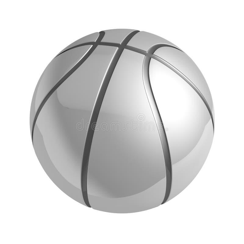 Silberner glänzender Basketball mit Reflexion vektor abbildung