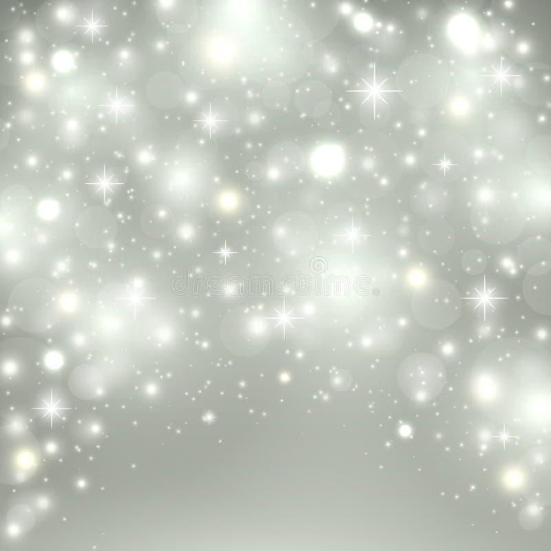 Silberner heller Hintergrund Weihnachtsdesign mit Schnee, Schneeflocken, Scheinsterne, Funkeln Winterurlaubhintergrund mit lizenzfreie abbildung